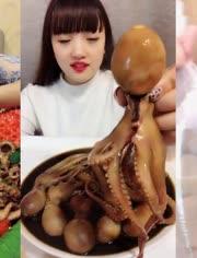【吃播】吃炸雞腿、吃黑炭炸雞、吃麻辣八爪魚等奇葩食物的吃貨們