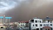 漫天黄沙席卷内蒙古通辽 最小能见度不足500米