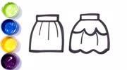 简笔画衣服|教你画女孩短裙和男孩T恤、短裤|学画画|儿童绘画