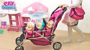 带着三个芭比娃娃做婴儿车,逛超市,散步